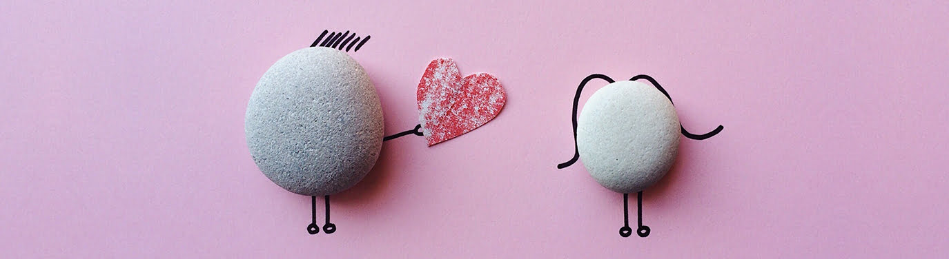 Two stones with love heart