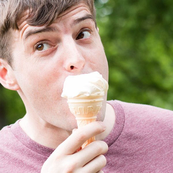 Male eating ice cream