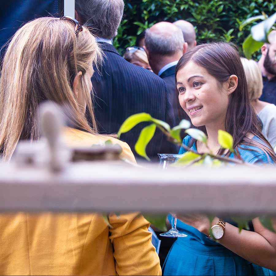 Guests chatting at a launch event in London - part of my corporate photography package