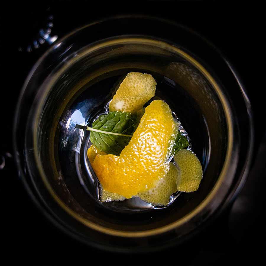 Lemon peel in a glass