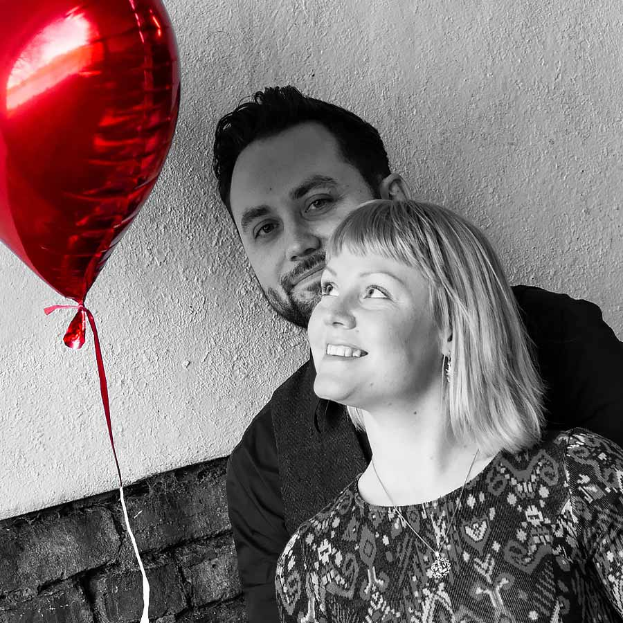 Photo of couple with red heart balloon - winners of my Valentine's Couples Photo Shoot competition 2019