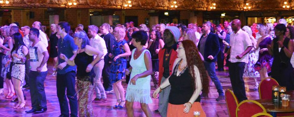 Salsa dancing at Blackpool Tower Ballroom