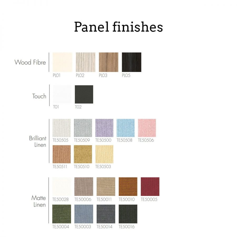 Panel colours and materials for the 9 box wall collection