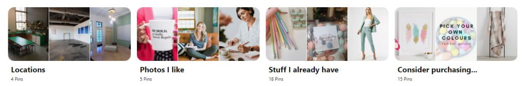 Laura's Pinterest board categories